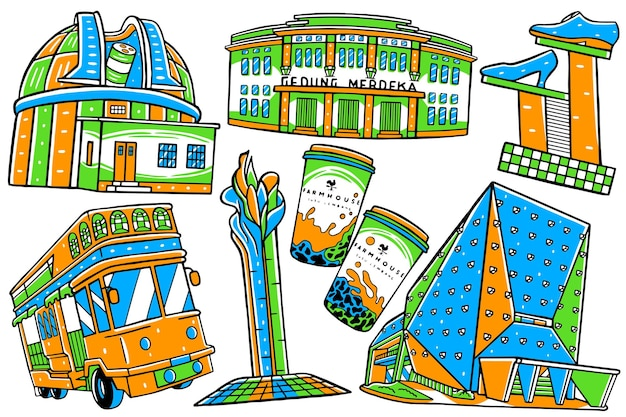 Doodle de la ville de bandung dans un style design plat