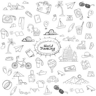 Doodle de voyage du monde