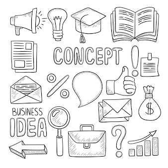 Doodles d'affaires. outils de bureau stylo ordinateur notes smartphone ordinateur portable pc business case idée symboles créatifs vecteur dessinés à la main. doodle de bureau, croquis de cahier, bloc-notes et illustration d'éléments d'argent