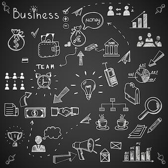 Doodles d'affaires sur tableau noir.
