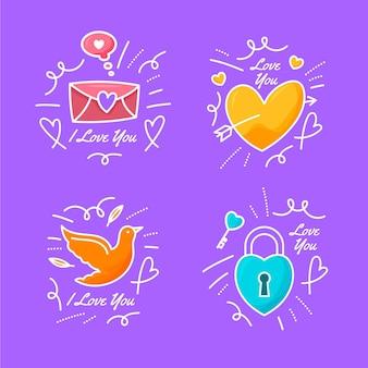 Doodles d'amour dessinés à la main