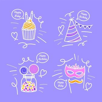 Doodles d'anniversaire dessinés à la main