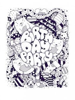 Doodles de carte d'anniversaire, lettrage noir de dessin animé vintage. joyeux anniversaire.