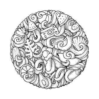 Doodles en cercle sur le thème de l'été.