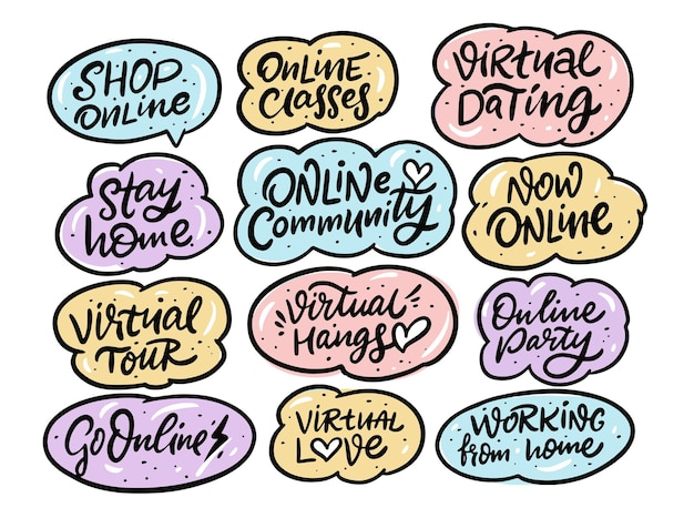 Doodles dessinés à la main en ligne et ensemble de phrases de quarantaine