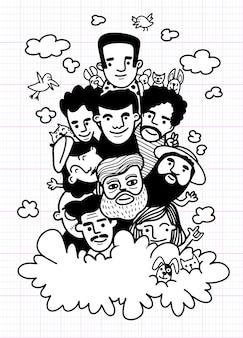 Doodles dessinés à la main mignons, croquis de gens de visage foule de gens drôles