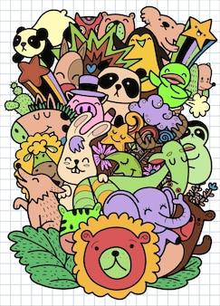 Doodles dessinés à la main mignons, illustration d'animaux de dessin animé mignon doodle