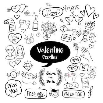 Doodles dessinés à la main valentine