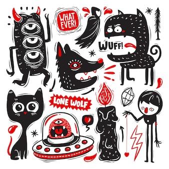 Doodles drôles avec jeu de monstres