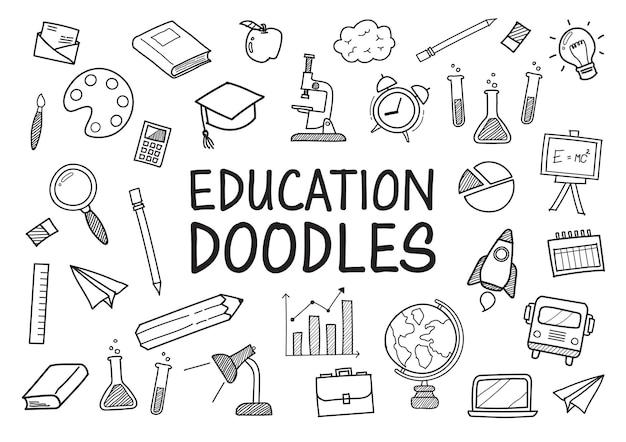 Doodles éducation éléments dessinés à la main
