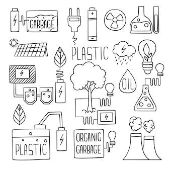 Doodles d'énergie. l'extension de l'usine de stockage de carburant de production d'électricité verte flammes icônes de l'usine de bâtiments. croquis de production verte de génération, illustration écologique de l'industrie de l'électricité