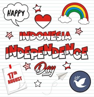 Doodles de la fête de l'indépendance sur fond de papier