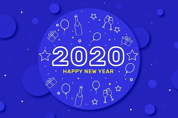 Doodles sur fond dans le style de contour pour la fête du nouvel an