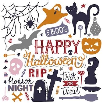Doodles halloween dessinés à la main imprimer.