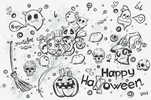 Doodles halloween dessinés à la main mignon - illustration vectorielle