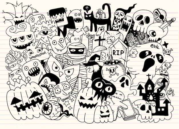 Doodles d'halloween dessinés à la main mignon, illustration