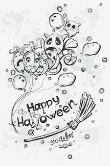 Doodles d'halloween mignon dessinés à la main - fantôme avec des boules sur le manche