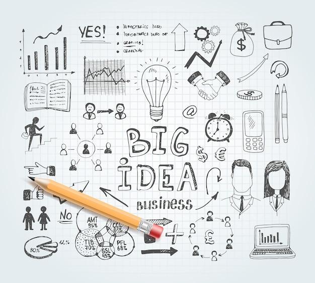 Doodles d'idée d'entreprise