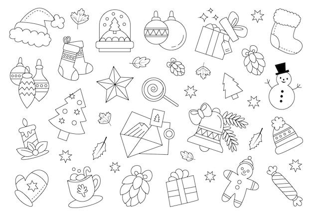 Doodles navidad trazados contornos