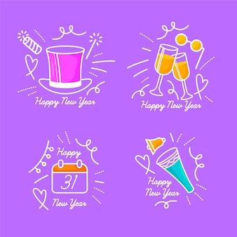 Doodles de nouvel an dessinés à la main