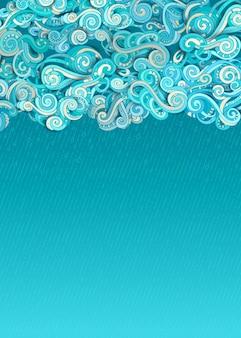 Doodles nuages et pluie dessinée à la main sur bleu.