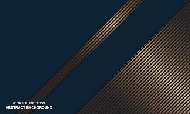 Dop bleu abstrait moderne avec des lignes dorées