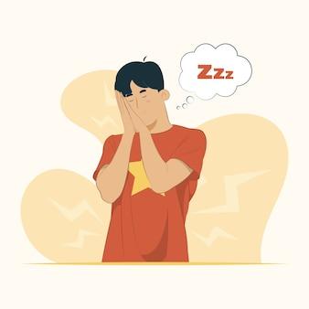 Dormir fatigué rêve posant souriant avec concept yeux fermés