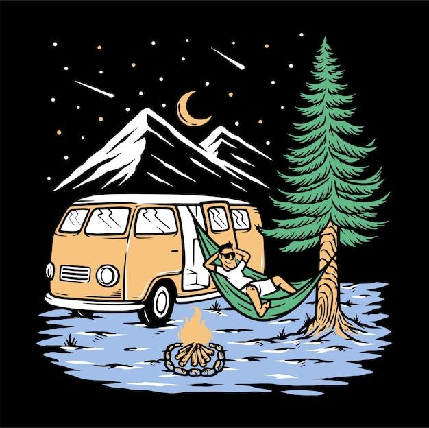 Dormir sous les étoiles isolatde sur noir