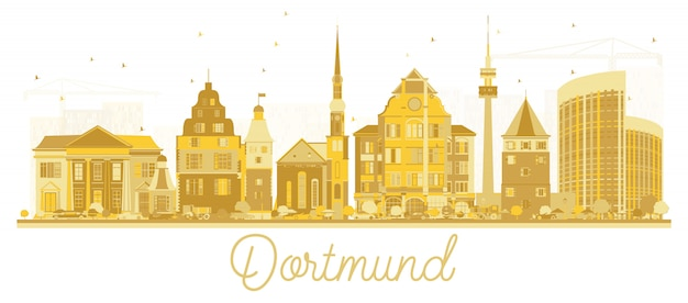 Dortmund allemagne city skyline silhouette avec bâtiments dorés isolé sur blanc.