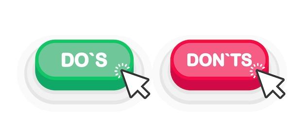 Dos ou donts bouton 3d vert ou rouge dans un style plat isolé sur fond blanc. illustration vectorielle.