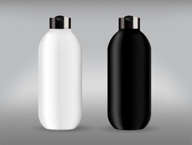 Dos en plastique cosmétique et bouteille blanche avec couvercle noir.