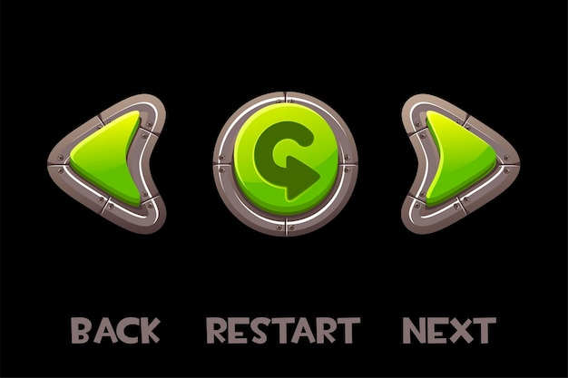 Dos vert, suivant, boutons de retour et inscription