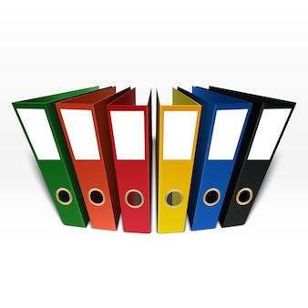 Dossier de boîte colorée isolé sur fond blanc