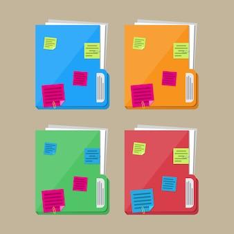 Dossier de documents avec feuilles de papier, notes autocollantes
