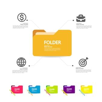 Dossier et élément pour l'illustration de concept d'entreprise.