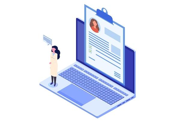 Dossier médical concept de médecin en ligne isométrique