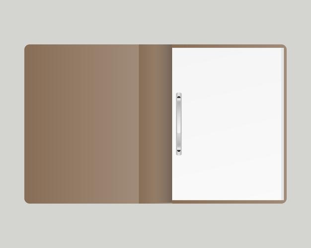Dossier papier vierge. dossier papier avec du papier blanc. identité d'entreprise. . modèle . illustration réaliste.
