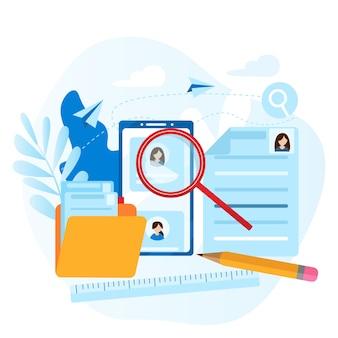 Dossier personnel de l'employé. concept de ressources humaines, choix, carrière, emploi, cv, recherche d'emploi