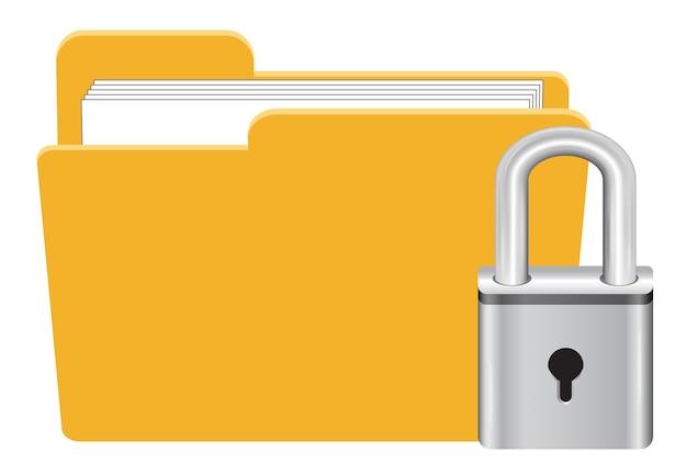 Dossier avec le vecteur d'icône de verrouillage de clé principale