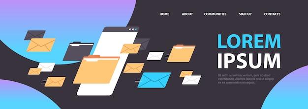 Dossiers courrier enveloppes cloud internet données fichier icône documents fenêtre du navigateur copie espace illustration vectorielle horizontal