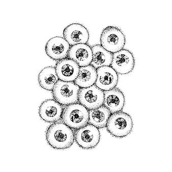 Dotwork globes oculaires humains. illustration vectorielle du concept d'yeux effrayants. croquis dessiné à la main de tatouage.