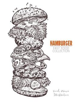 Double burger classique avec fromage et légumes. gros hamburger avec viande, fromage, laitue, tomate, concombre, poivron et oignon.
