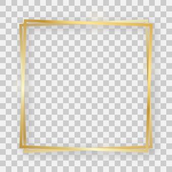 Double cadre carré brillant doré avec effets lumineux et ombres sur fond transparent. illustration vectorielle