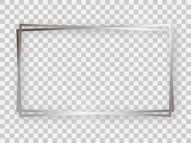 Double cadre rectangulaire argenté brillant 16x9 avec effets lumineux et ombres sur fond transparent. illustration vectorielle