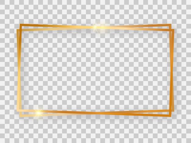 Double cadre rectangulaire doré brillant 16x9 avec effets lumineux et ombres sur fond transparent. illustration vectorielle