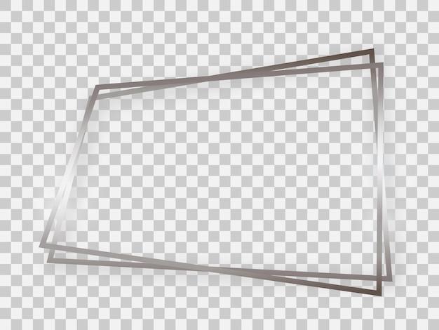 Double cadre trapézoïdal brillant argenté avec effets lumineux et ombres sur fond transparent. illustration vectorielle