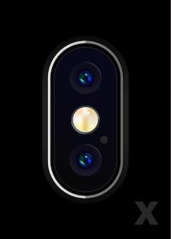 Double caméra réaliste très détaillée sur le smartphone. illustration vectorielle.