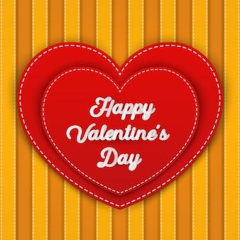 Double coeur rouge avec le mot happy valentine's day,