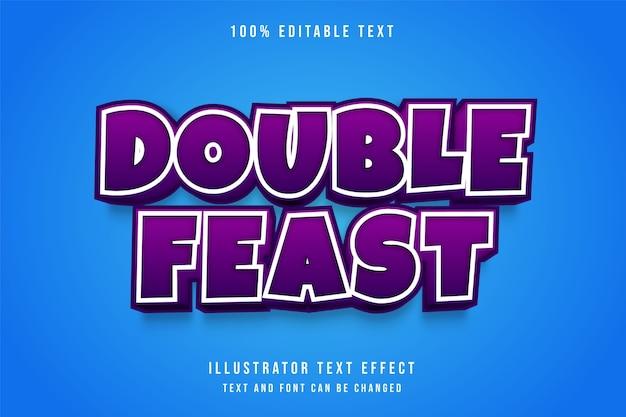 Double fête, effet de texte modifiable 3d effet de style de dégradé violet