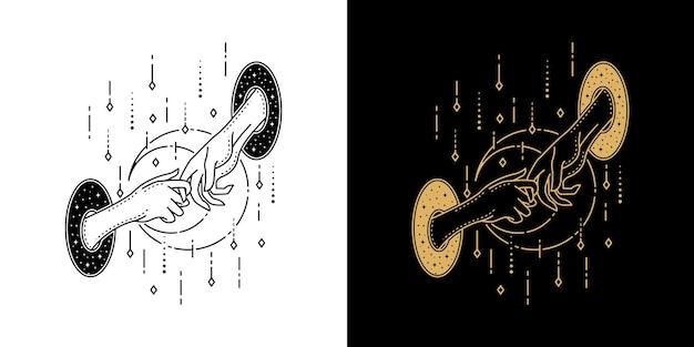 Double main de conception de tatouage géométrique monoline cercle
